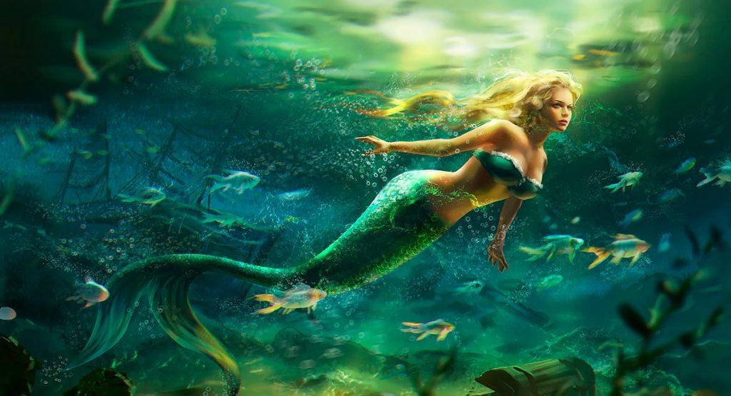 Sirena en el fondo del mar.